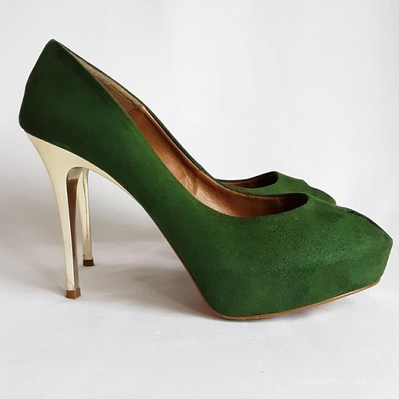 ZARA Emerald w/ Gold Peep Toe Heels